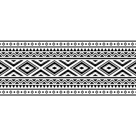 Stripe traditional motif with aztec style pattern in black white color 向量圖像