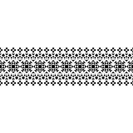 Traditional navajo ethnic motif texture design vector in black white color