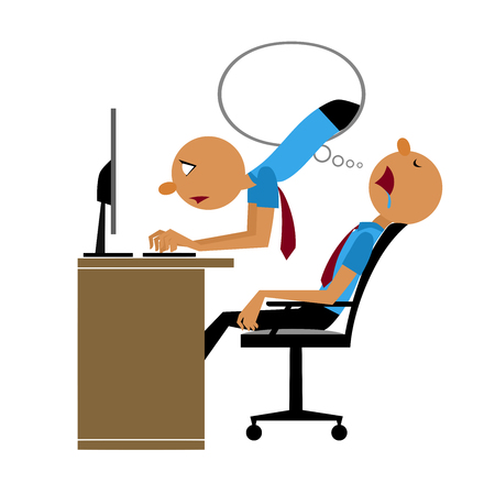 Vector of Nonstop Working, He Already Tired but Inside Dream He Still Do Working Vettoriali