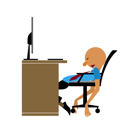 Vector of Employee get so tired, he was exhausted and finally fell asleep after worked hard Archivio Fotografico - 99539726