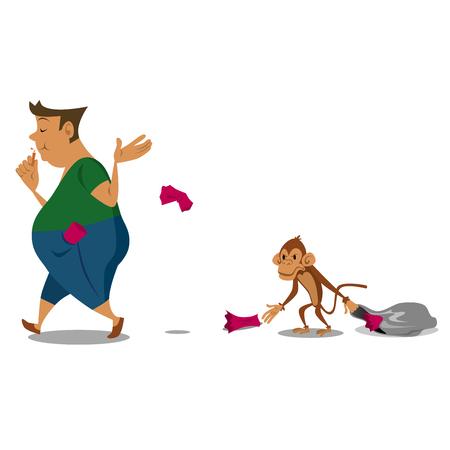 Vector cartoon Do Not Litter,Shameless on Monkey