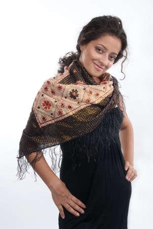 Elegant lady posing in a studio photo