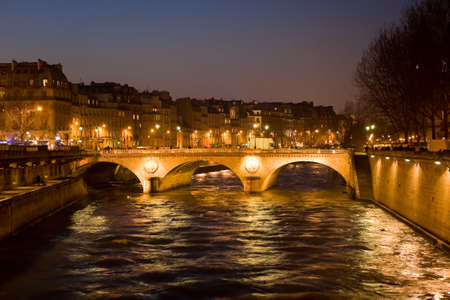 paris at night: The picture is made in the evening on the Sena river in Paris