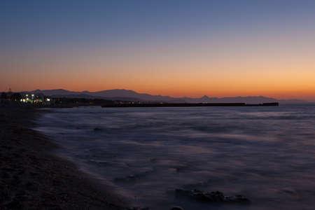 Coucher De Soleil Sur La Mer Mediterranee Apres Le Coucher Du