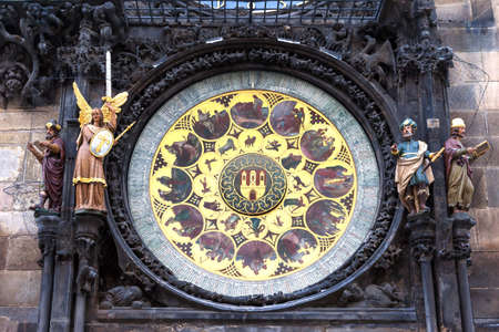 The astronomical clock on the wall of the old town hall in Prague  The Central part of the  astronomical disks  dates back to 1410, and about 1490 sculptures, and dial calendar was added to it
