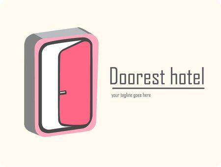 Doorest hotel. design of travel logo and hotels. 3d door concept. vector illustration
