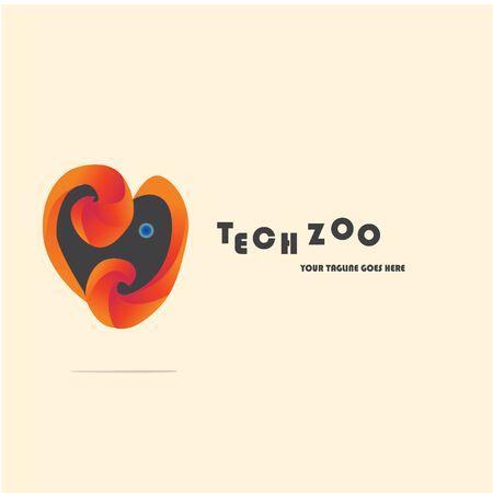 Illustration vector graphic of Techzoo logo. Love and elephant logo company Иллюстрация