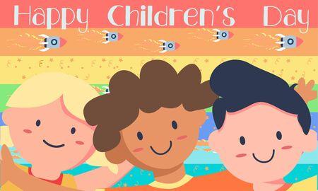 Lovely children's day composition vector design