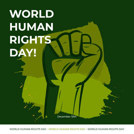 Vector illustration of Human Rights Day With Green Background Иллюстрация