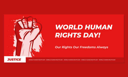 Banner illustration of Human Rights Day With Red Background. Poster Solidarity
