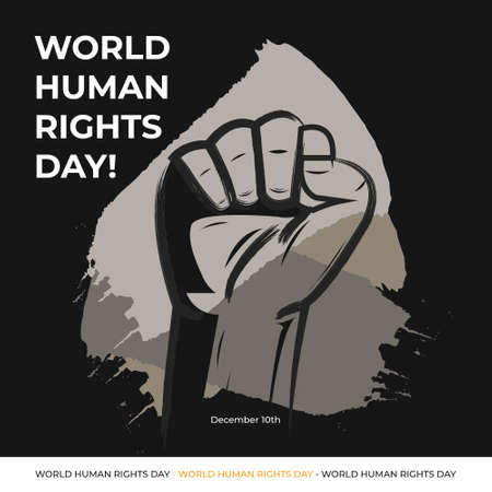 Illustration of Human Rights Day With Black and Grey Background. Poster International Day. Justice Campaign