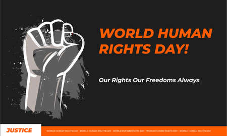Banner illustration of Human Rights Day With Orange and Black Background. Poster International Day