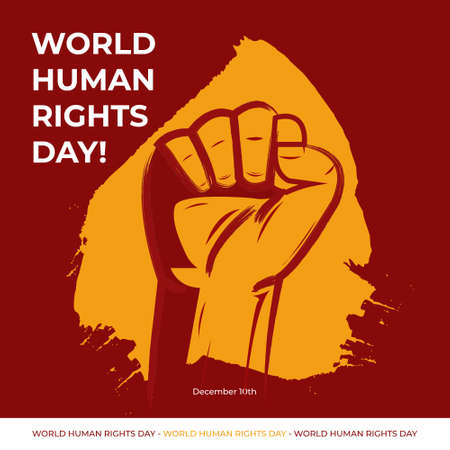 Vector illustration of Human Rights Day With maroon Background Иллюстрация