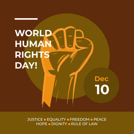 Vector illustration of Human Rights Day With Brown Background