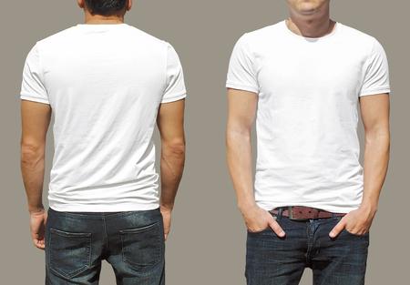 blanc: T-shirt modèle Banque d'images