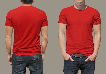 hombre rojo: Plantilla de la camiseta Foto de archivo