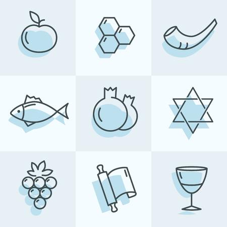 Rosh Hashana iconos para sus grandes diseños Foto de archivo - 84074005