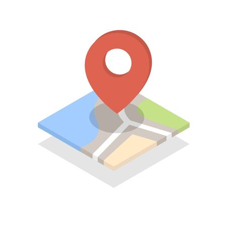 Mapa con un pin aislado en blanco Foto de archivo - 85312028