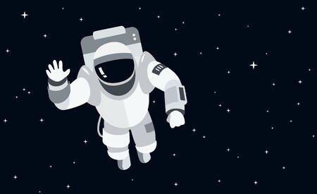 宇宙空間の宇宙飛行士フラットスタイルのベクトルイラスト  イラスト・ベクター素材