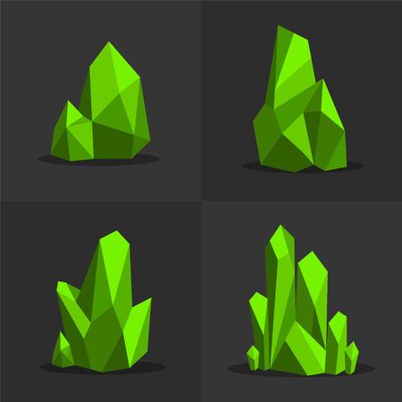 グリーン エメラルド色鮮やかな光沢のある明るい緑の玉結晶  イラスト・ベクター素材