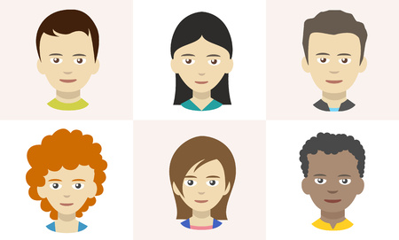 Mensenpictogrammen, avatars in vlakke stijl