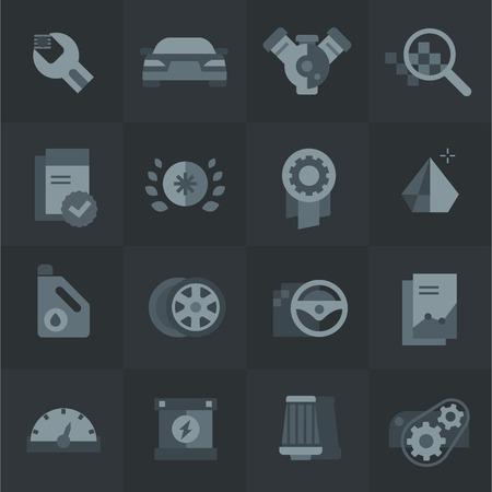 Autoonname- en servicepictogrammen