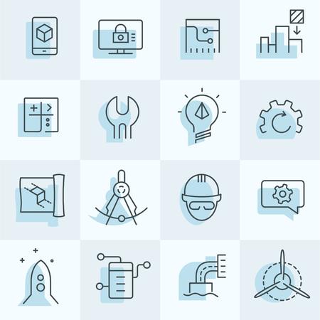 Engineering pictogrammen instellen Stock Illustratie