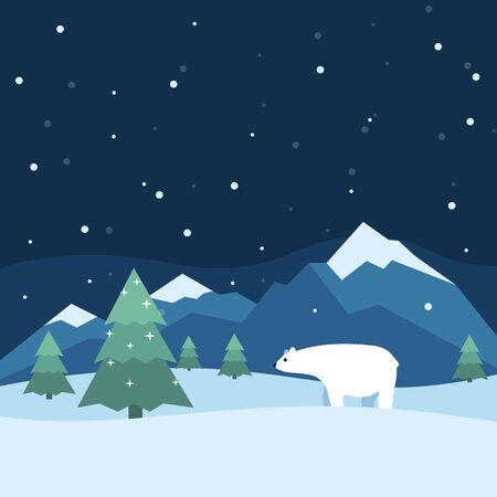 Winter with trees, mountains and polar bear.