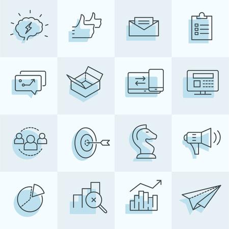デジタル マーケティングのアイコンを設定する戦略、ターゲット、ソーシャル メディアなどを含む.  イラスト・ベクター素材