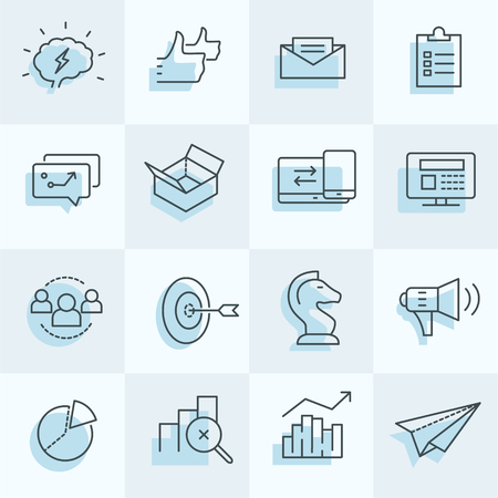 Digitale marketing pictogrammen instellen inclusief strategie, doelwit, sociale media, enz ..