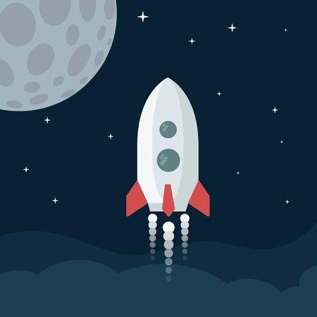 Vector Rocket launch illustration