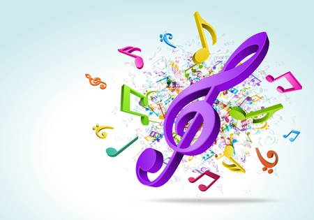 musical note: 3d colorato music notes background Vettoriali