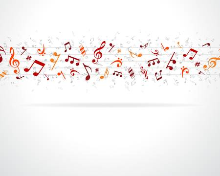 popular music: Colorful music notes background