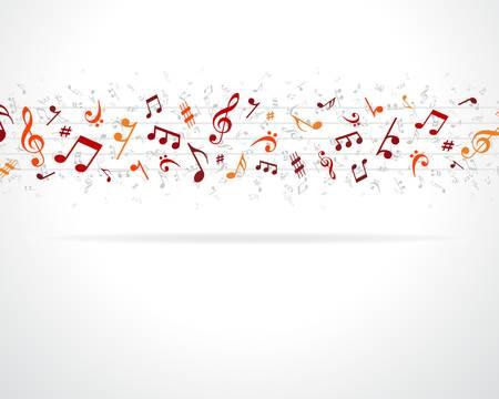 music banner: Kleurrijke muzieknoten achtergrond Stock Illustratie