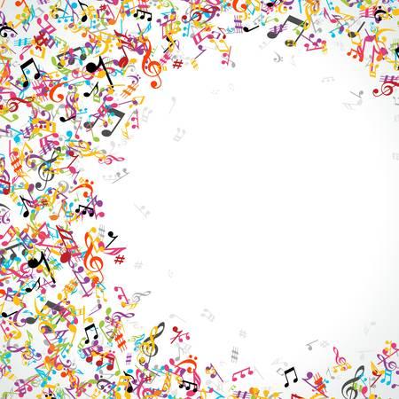 歌: カラフルな音楽ノートの背景