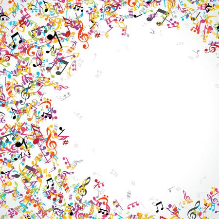 abstract melody: Colorful music notes background