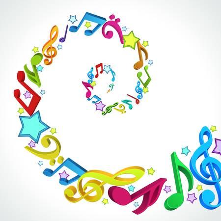 3d musique colorée d'arrière-plan des notes Banque d'images - 13260260