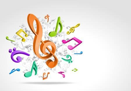 합창단: 3D 다채로운 음악 노트 배경