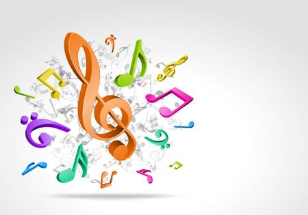 3d colorful music notes background Vector