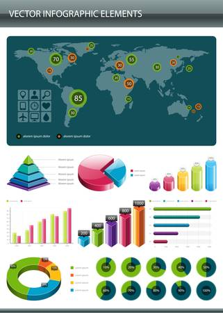 Info graphics collection  Information graphics design elements Vector