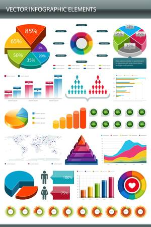 wykres kołowy: Informacje graficzne zbiór elementów graficznych informacji o projekcie Ilustracja