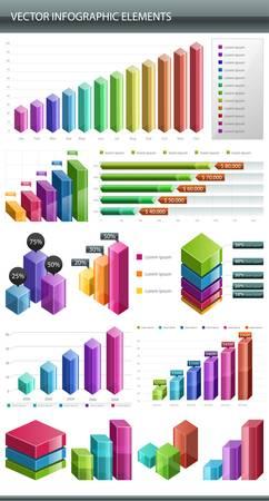 staaf diagram: Info graphics Collectie Informatie grafisch ontwerp Stock Illustratie