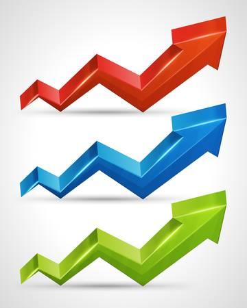 3d arrow grafiek groei tot illustratie set