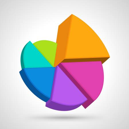 실린더: 원형 다이어그램 다채로운 그림 일러스트