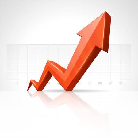 3d flecha gráfico de crecimiento hasta el fondo