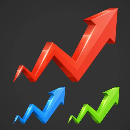 3d arrow graph growth up illustration set Illustration