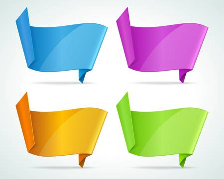 Abstract origami speech bubble background set Illustration