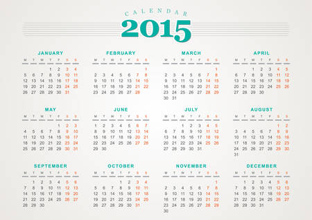 Calendar 2015 design template Illustration