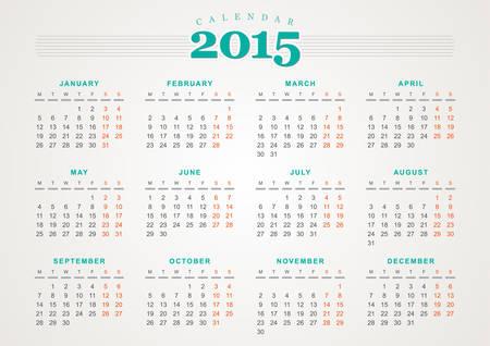 Calendar 2015 design template Illustration