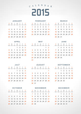 Calendar 2015 design template USA version  Vector